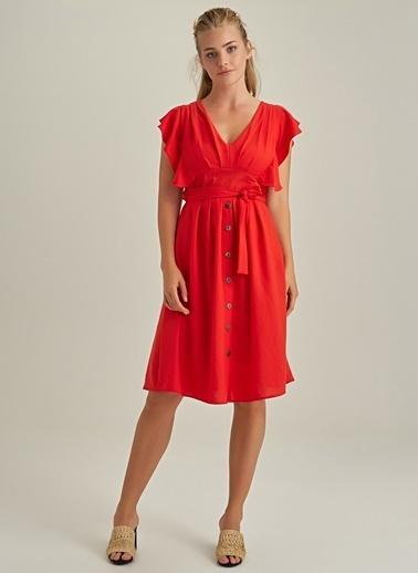 Ng Style Volan Kollu Düğmeli Elbise Kırmızı